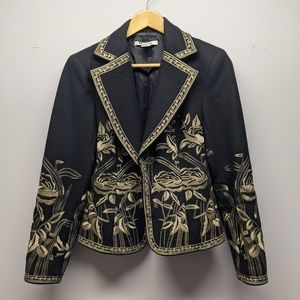 Nygard Black Jacket with Gold Embroidery sz Small